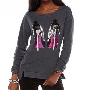 Juicy Couture Sequins Heels Embellished Sweater